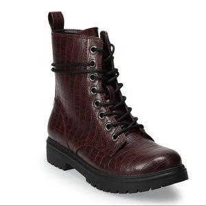 NWT SO Bowfin Women's Faux Croco Combat Boots
